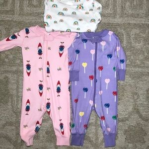 HANNA ANDERSSON Lot of 3 One Piece Pajamas 3-6 M